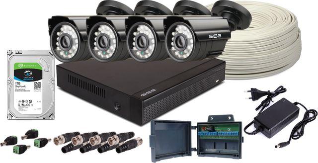 Kompletny zestaw do monitoringu, 4x Kamera 5Mpx/IR20, Rejestrator 4ch