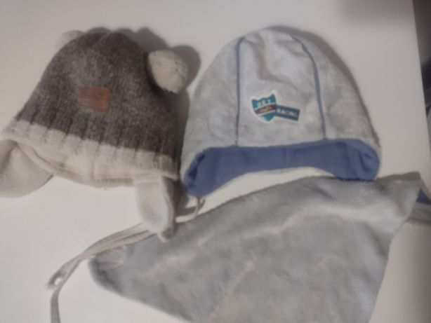2 Czapeczki + apaszka dla dziecka rocznego na zimę
