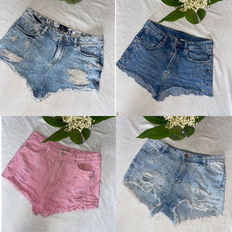 Шорти шорты джинс джинсовые cropp бусинки стрейч reserved h&m new look