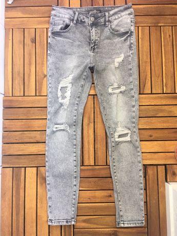 Szare spodnie jeansy dziury r. 38 M damskie