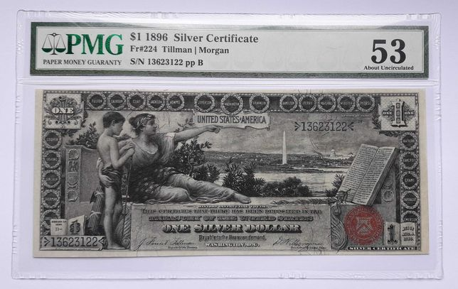 USA США 1 доллар 1896 UNC large size silver certificate Fr-224 PMG 53