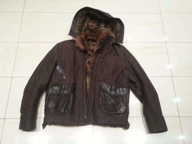 Куртка на меху кожаная комбинированая Punto (Пунто) размер 52, бу