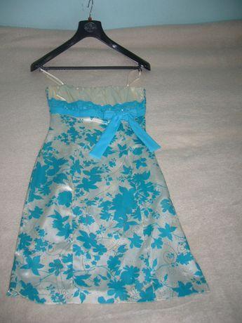 Elegancka sukienka biała z niebieskim rozm 36