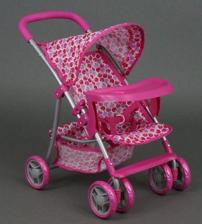 Кукольная коляска детская съемная корзинка розовая