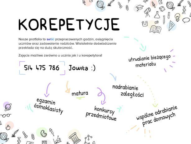 Korepetycje matematyka fizyka polski WOS biologia chemia rosyjski