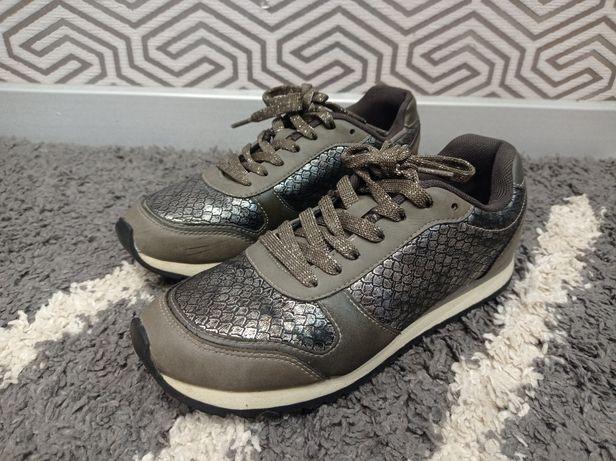 Стильные кроссовки чешуя серебро рептилия Graceland