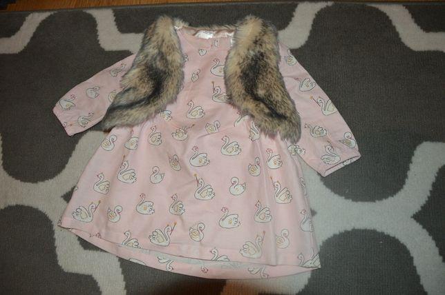 Sukienka z bolerkiem futerkiem, jesienna r.74 cm C&A dla bliźniaczek