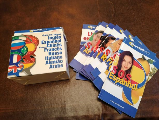 Livros e CDs de curso de 8 línguas