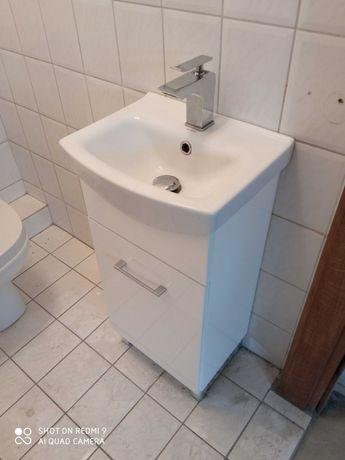 Umywalka kompletna z szafką, baterią i mosiężnym syfonem