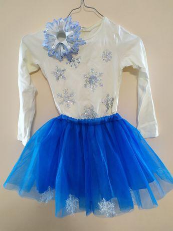 Костюм снежинки, карнавальный, юбка туту
