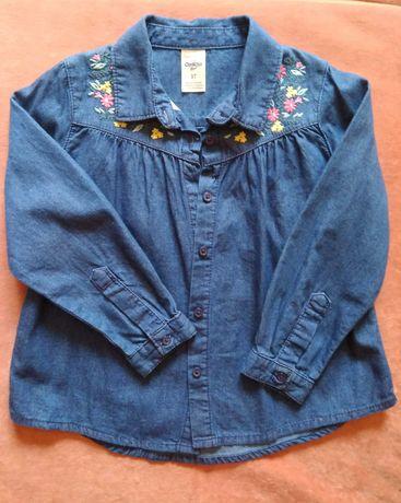 Джинсовая рубашка Oshkosh девочке с красивой вышивкой