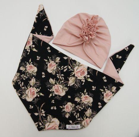 Komplet wiosenny czapka chusta