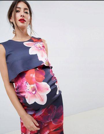 Nowa ciążowa sukienka 36 wesele ślub Maternity kwiaty