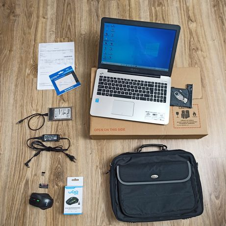 Laptop Asus ( i5 , 12 ram, NOWY 256 SSD) +1 TB HDD +bater 5h_100%spraw