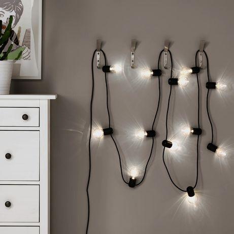 wysyłka_IKEA SVARTRÅ_NOWA Girlanda LED _12 lampek_czarny_wew./zew.