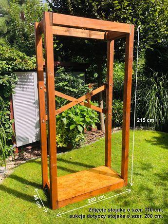 Stojak na drewno do kominka 200x215 cm drewniany rozkładany, drewutnia