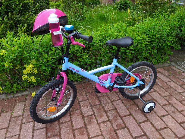 """Rower 16"""" dla dziewczynki + kask + boczne kółka. Stan idealny!"""