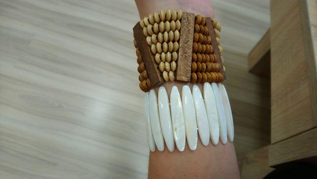Nowe szerokie bransoletki 2 szt na gumce perłowa i drewniana