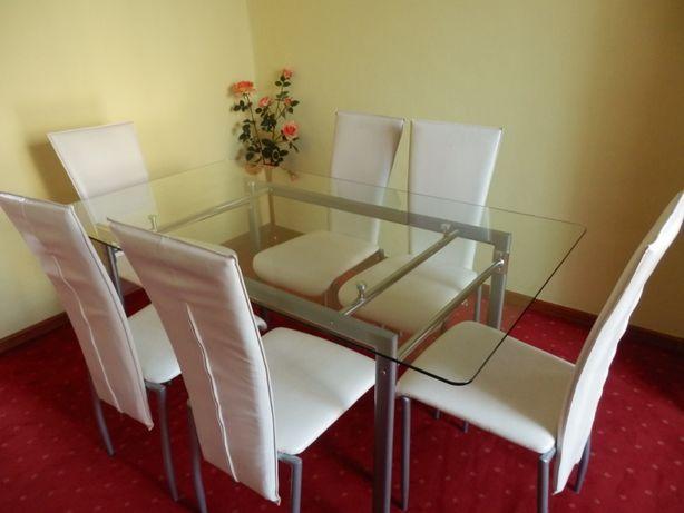 Duży stół szklany 160x90 do jadalni + 6 krzeseł gratis