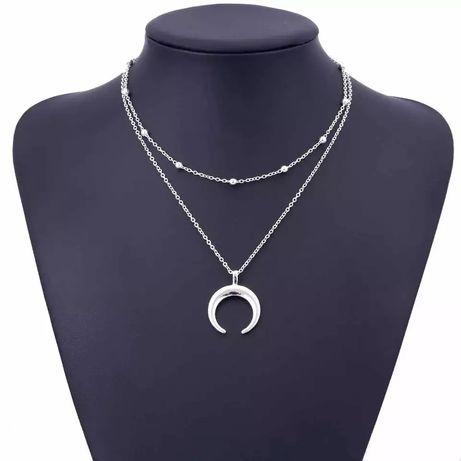 Двухслойное ожерелье с луной, кулон с полумесяцем, новый, на подарок