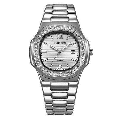 Męski zegarek na bransolecie kolor srebrny diamenty silver bransoleta