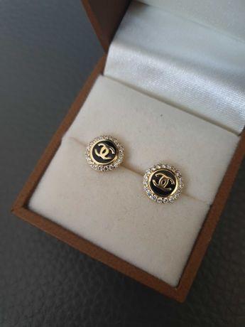 Kolczyki złote chanel nowe 585 czarny kamień 14 karat CC