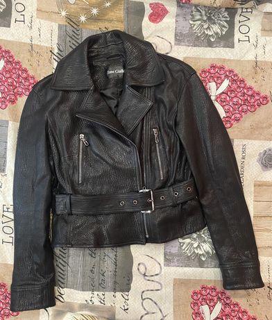 Куртка косуха из натуральной рельефной кожи чёрная