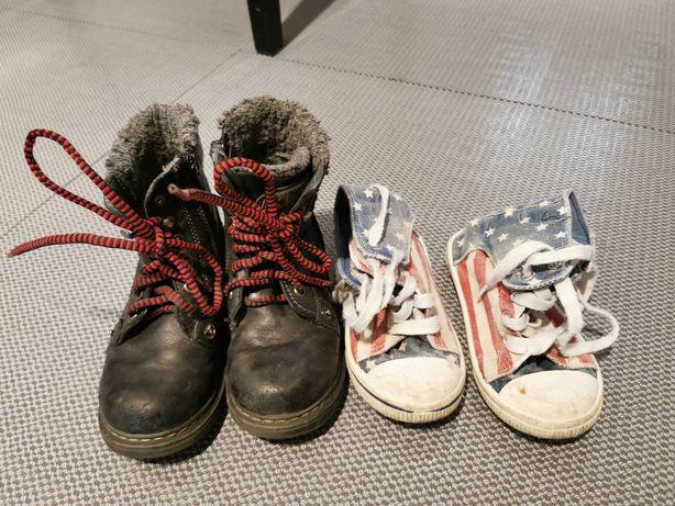 Buty dziecięce czarne rozm. 26, trampki rozm. 25