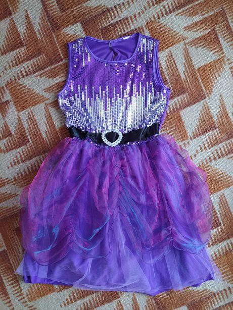 Платье детское сиреневое с пайетками на праздник, выпускной