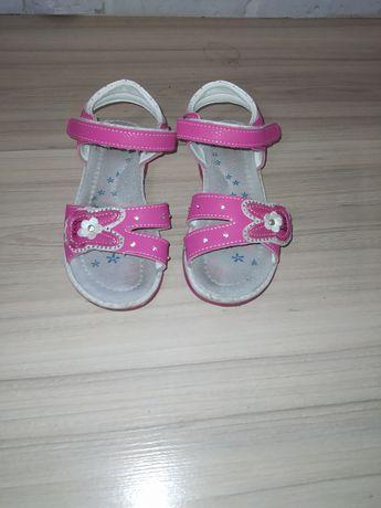 Sandały dziewczęce skórzane 27, wkładka 17,5 cm