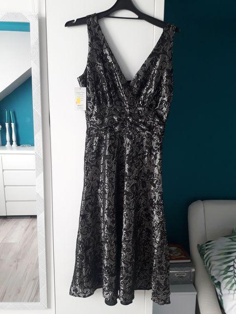 Sukienka Gracja 40 czarno-złota
