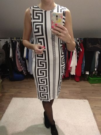 Sukienka tuba Asos biała czarna r. 10 M