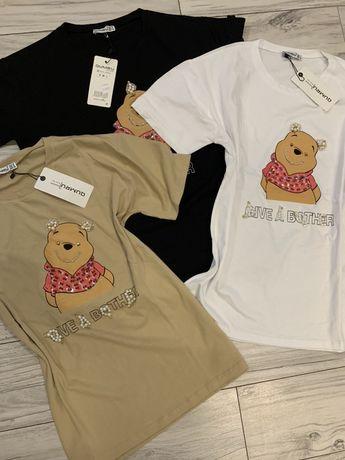 T-shirt bluzka Miś puchatek Disney biała czarna puder beż M L
