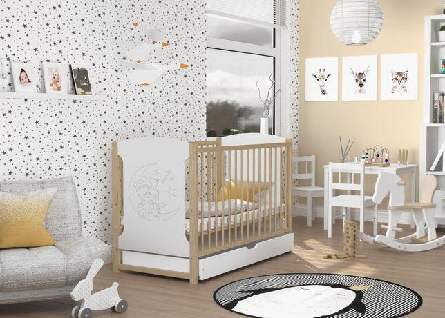 Łóżeczko dziecięce KUBA 120x60 2w1 z motywem MISIA + szuflada