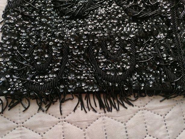 Piękny ręcznie zdobiony top bluzka góra sukienki koraliki cekiny frędz