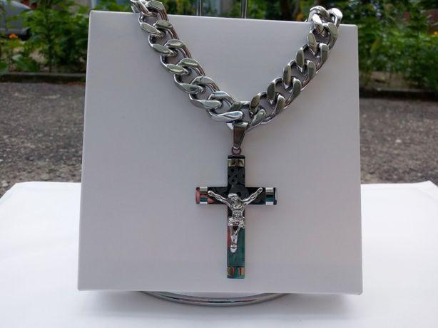 Srebrny łańcuszek,łańcuszek z krzyżykiem,140 gram NOWY,316 l,jak kruk