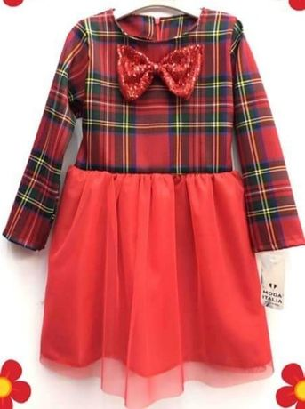 Sukienka 134/140  krata