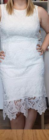 Nowa sukienka Julie Macdonald 46 kremowa azurowa koronka