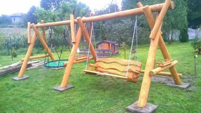 huśtawka ogrodowa drewniana grube bale meble ogrodowe producent