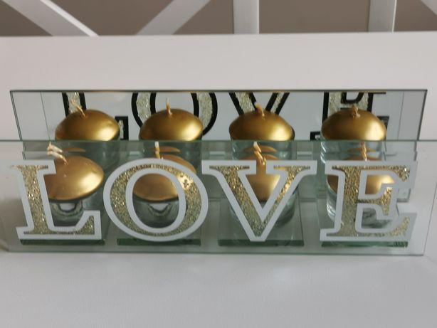 Napis Love świeczniki tealight srebrne złote szklane