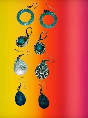 Kolczyki srebrne piękne z niebieskim oczkiem