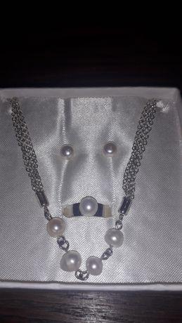 Komplet biżuterii srebro z perełkami