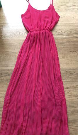 Vestido comprido rosa forte