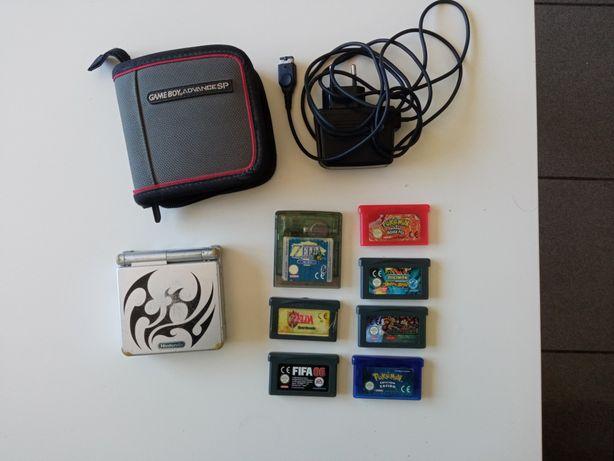 Game Boy advance sp +bolsa e carregador e 7 jogos