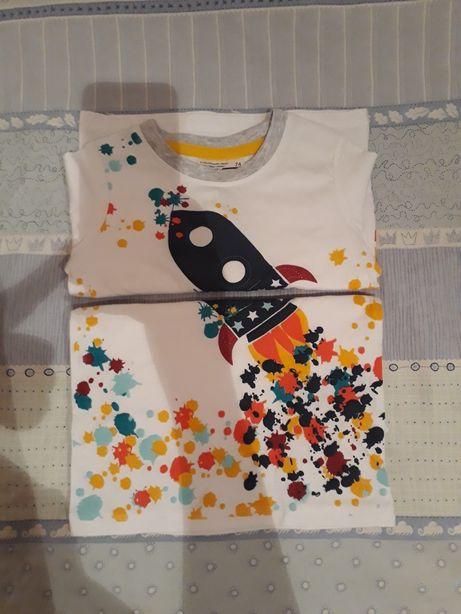 Bluzka dla chłopca/ bliźniaków w rakiety r. 2 x 74. Nowa. Śliczna