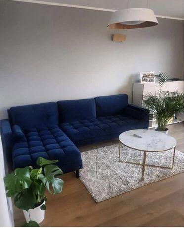 Narożnik Rogówka sofa kanapa Granat Velvet Loft Industrialny Glamour