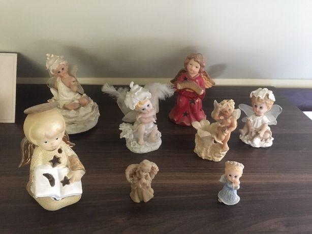 Aniolki aniołek domek na świeczkę figurki  komplet bibeloty