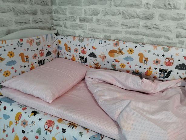 Бортики в кроватку, польский хлопок, качество ткани и пошива!