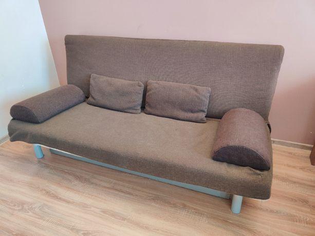 Sofa rozkładana IKEA Bedinge + narzuta + materac + pojemnik na pościel