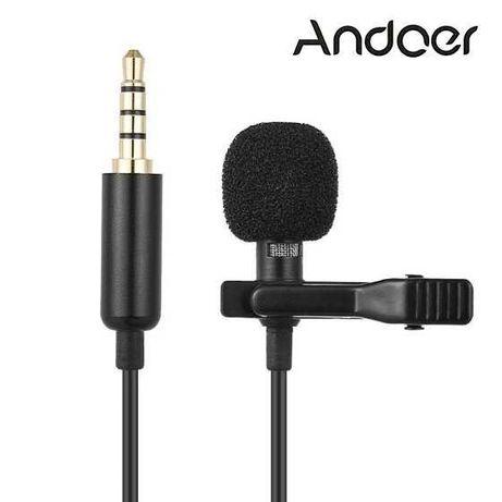 Якісний петличний мікрофон Andoer EY-510A, петличка для смартфона